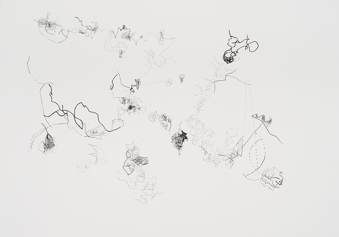 Seismografische Kompositionen 13 03 14 / Bleistift auf Papier / 59,4 x 84,1 cm