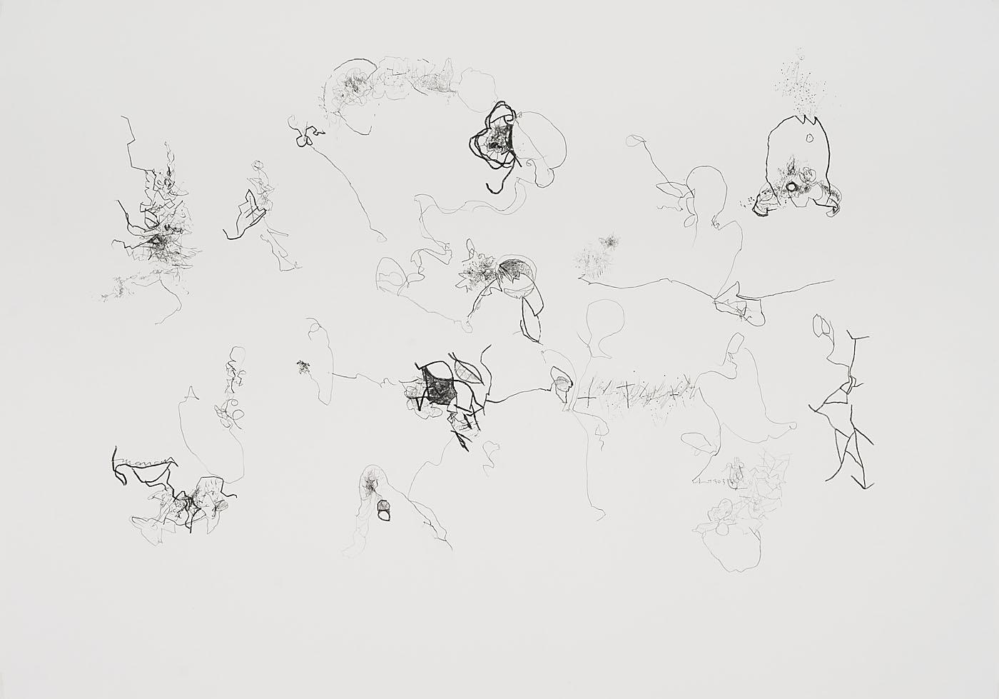 Seismografische Kompositionen 13 03 14 A / Bleistift auf Papier / 59,4 x 84,1 cm