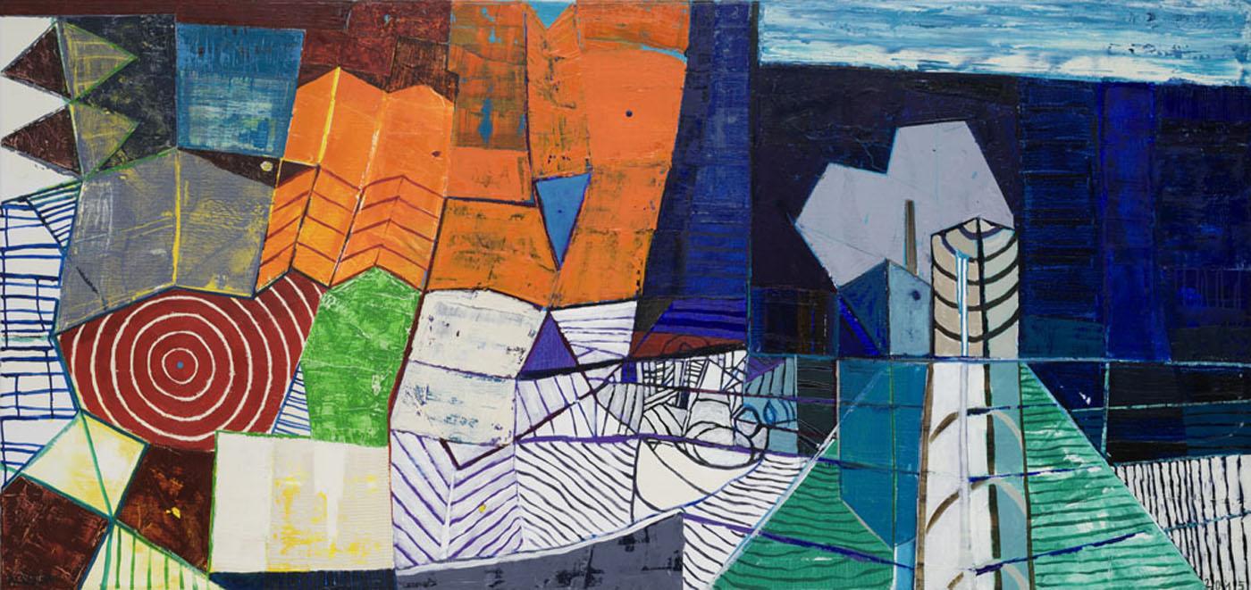 Stadtlandschaft 1 / 2015 / Öl auf Leinwand / 90 x 190 cm