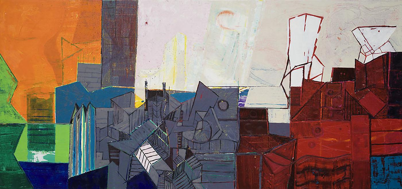 Stadtlandschaft 3 / 2015 / Öl auf Leinwand / 90 x 190 cm