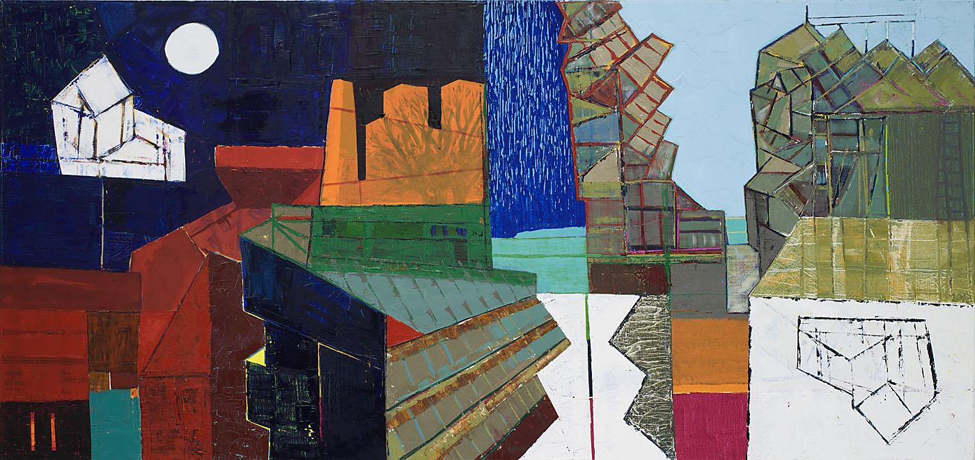 Stadtlandschaft 5 / 2013 / Öl auf Leinwand / 90 x 190 cm
