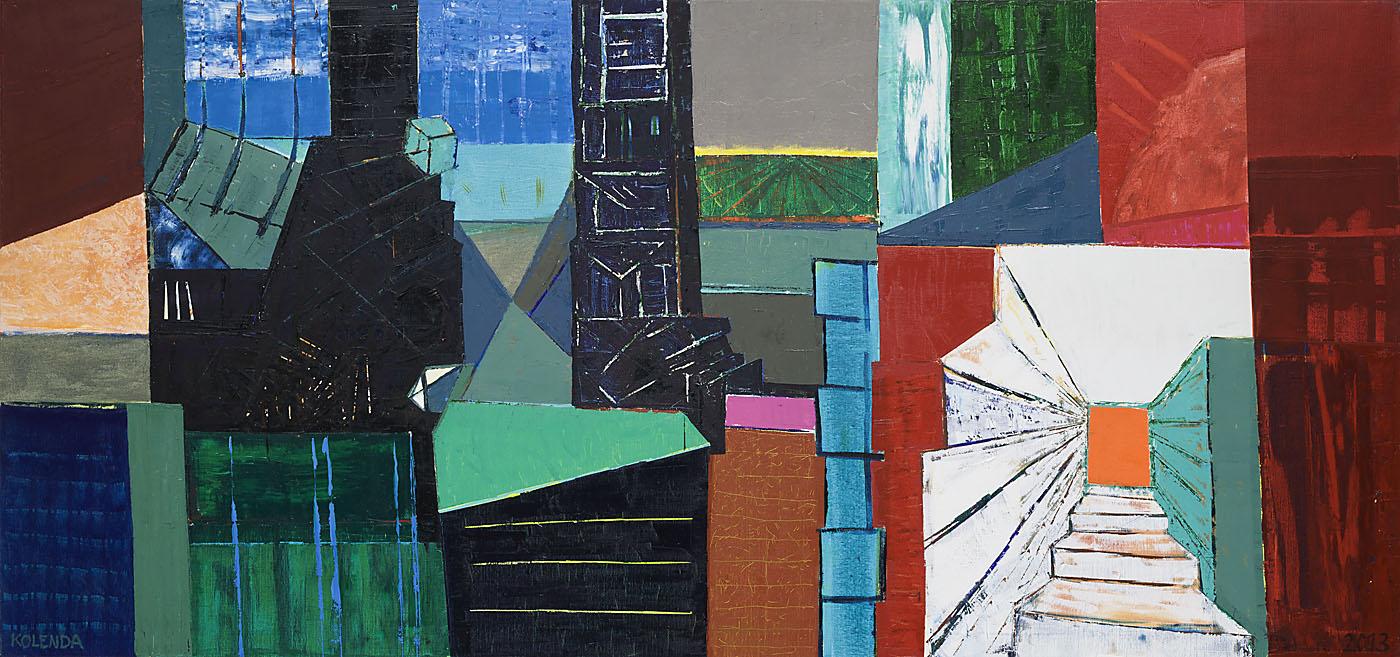 Stadtlandschaft 6 / 2013 / Öl auf Leinwand / 90 x 190 cm