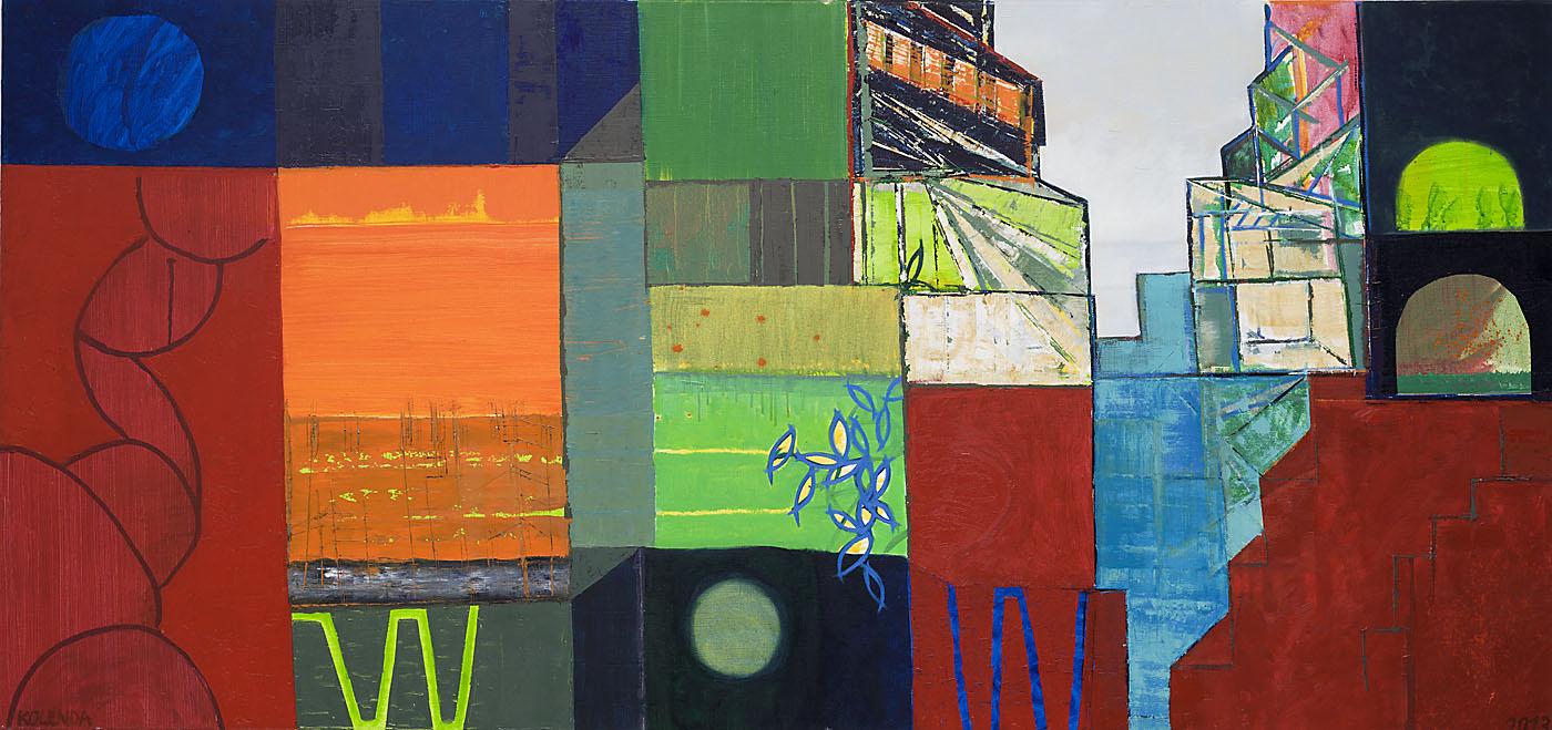 Stadtlandschaft 7 / 2013 / Öl auf Leinwand / 90 x 190 cm